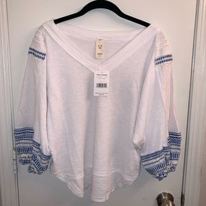 Free People White and Blue VNeck Top